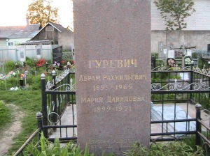 My ancestors who survived the genocide and were buried in the main cemetery with all the rest of the townsfolk: Abram Rakhmielovich Gurevich and his wife Mariya Davipovna Gurevich.
